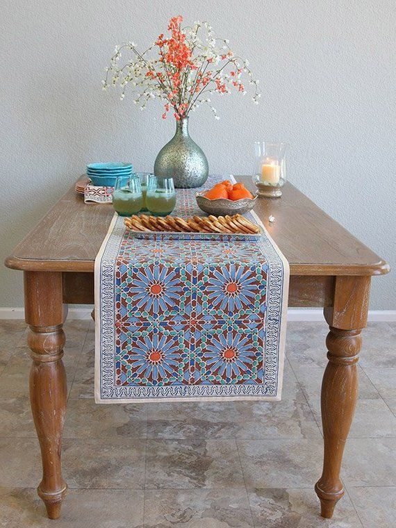 Mosaique Bleue Moroccan Tile Print Blue Table Runner Blue
