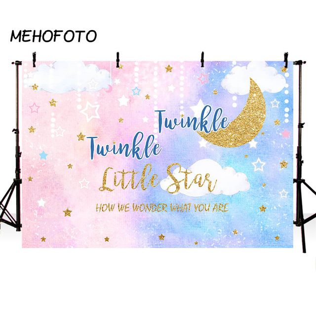 party banner sign photobooth Twinkle Twinkle Little Star backdrop boy or girl first birthday toddlers night sky background printable poster