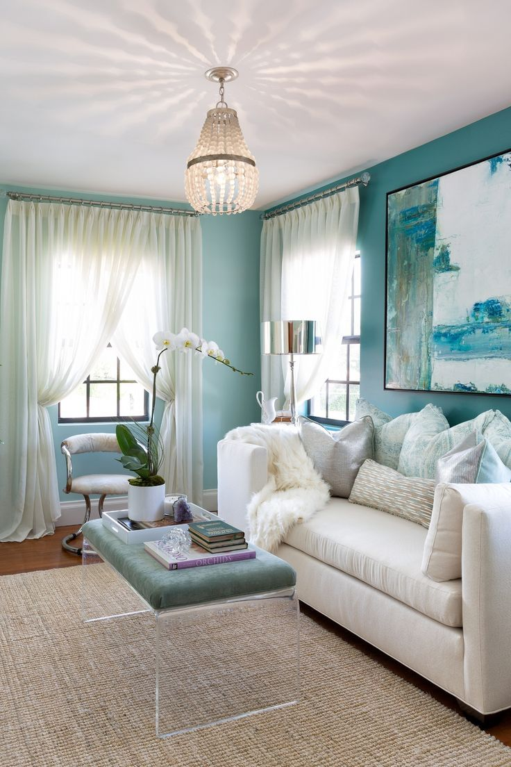 53 Rooms That Are Proof You Need Blue Walls In Your Life Blue Walls Living Room Tiffany Blue Walls Blue Accent Walls Tiffany blue living room