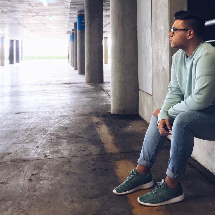 Men's fashion - denim, guys, H&M, sneakers, green, athleisure, guys style, autumn, shoes, jeans, jumper, blue, style, trends, winter, turquoise