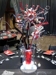 These centerpieces were made out of diet coke cans