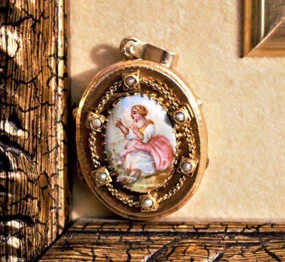 UNIQUE Hand Painted Antique Locket Seed by PrettyDifferentShop