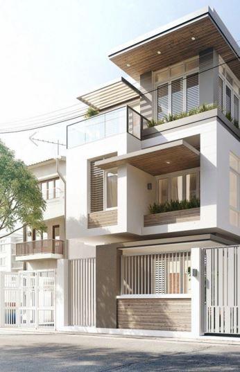 Fachadas de casas de 3 pisos angostas modernas