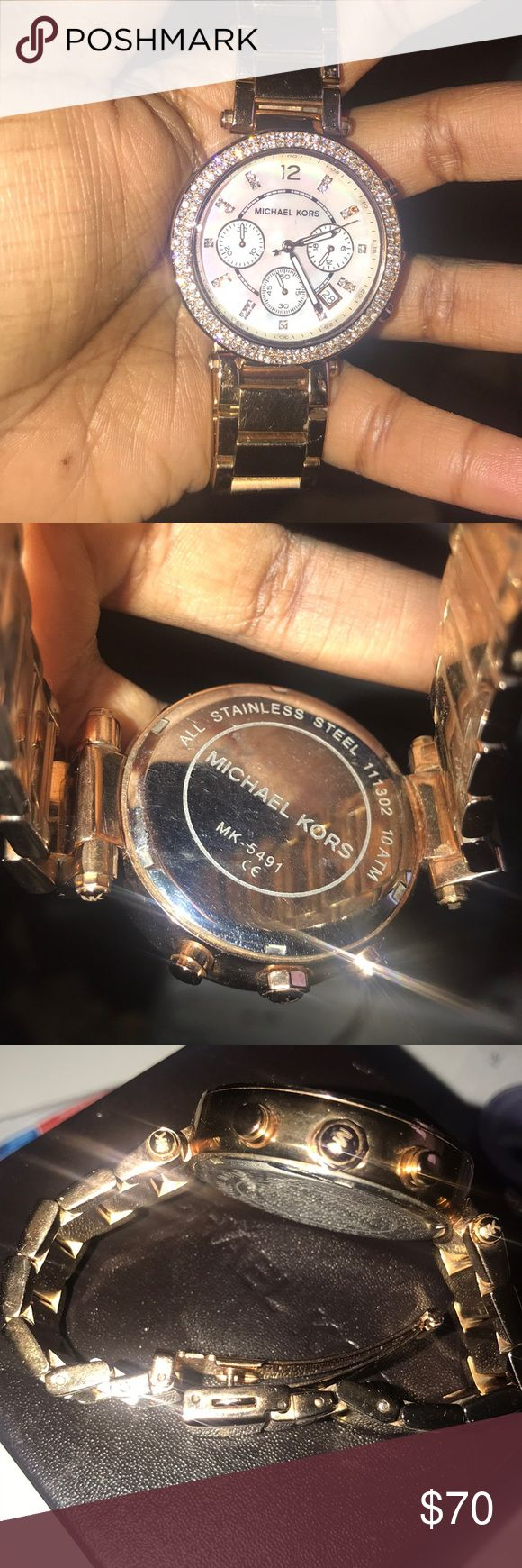 Rose Gold MICHAEL KORS WATCH -Double Diamond Rim & Pearl Face -2 Links Removed -2 Gems Missing at 2nd & 3rd hour make (but easily replaceable with no fee from your local jeweler)  Make An Offer 😁 Michael Kors Jewelry