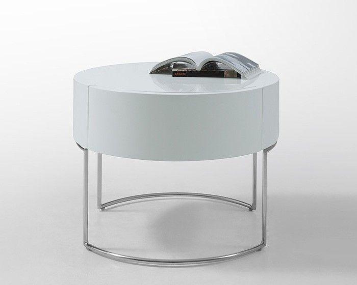 Modern Liv White Lacquer Round Nightstand Furniture