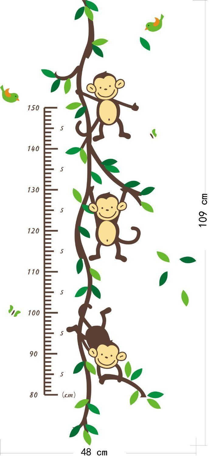 149 best wall decals images on pinterest two birds green leaves new design funny monkey forest tree growth chart height chart vinly wall decal decor sticker removable for nursery children s bedroom