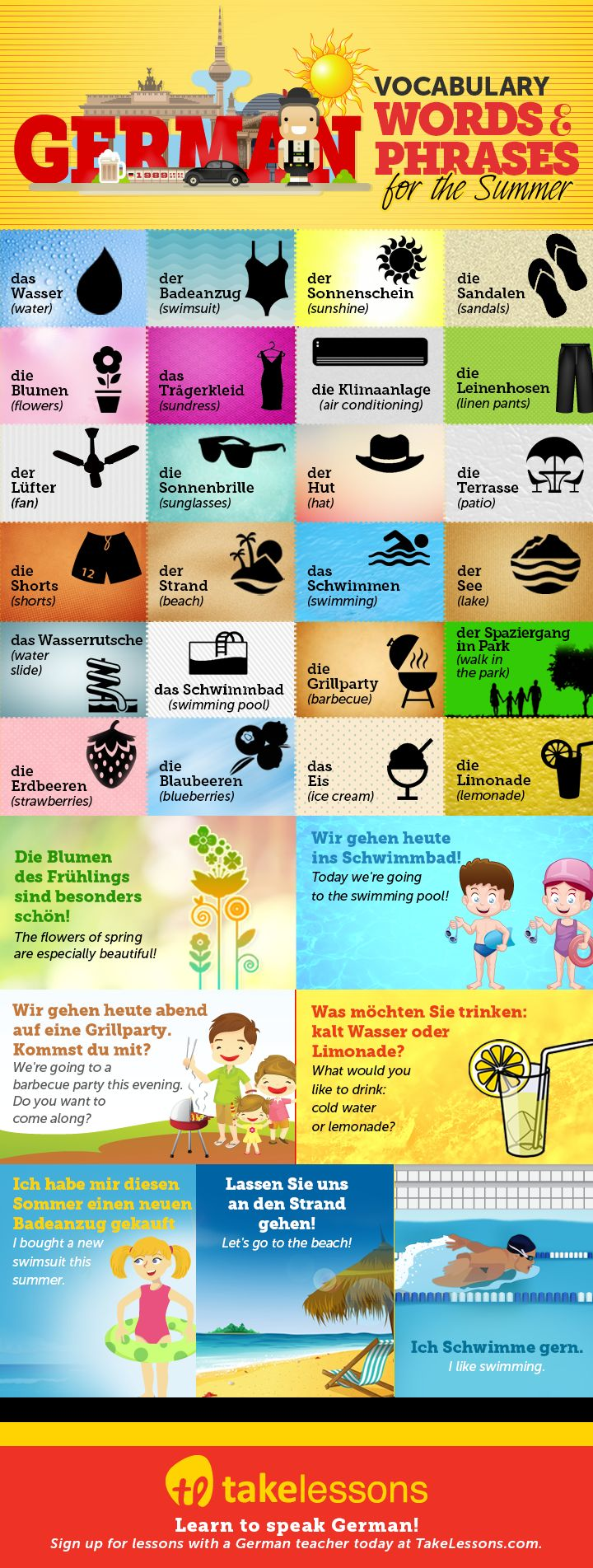 31 German Vocabulary Words and Phrases for the Summer http://takelessons.com/blog/german-vocabulary-summer-z12?utm_source=social&utm_medium=blog&utm_campaign=pinterest