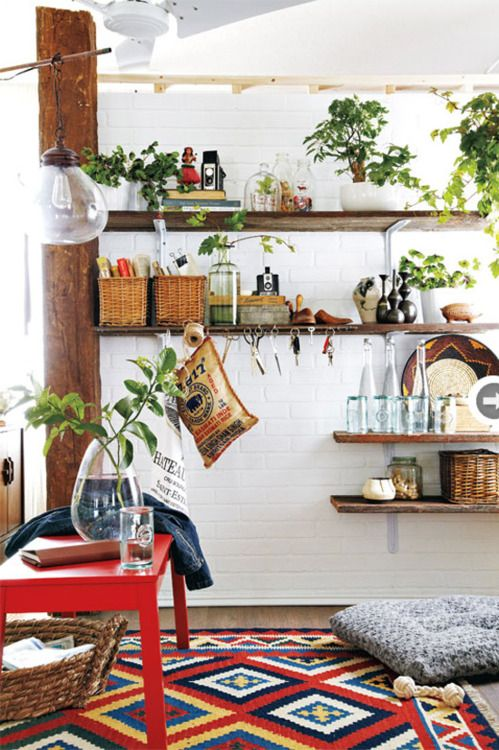 :)Kitchens, Decor, Open Shelves, Interiors, Plants, Outdoor Room, Wood Shelves, Rugs, White Wall