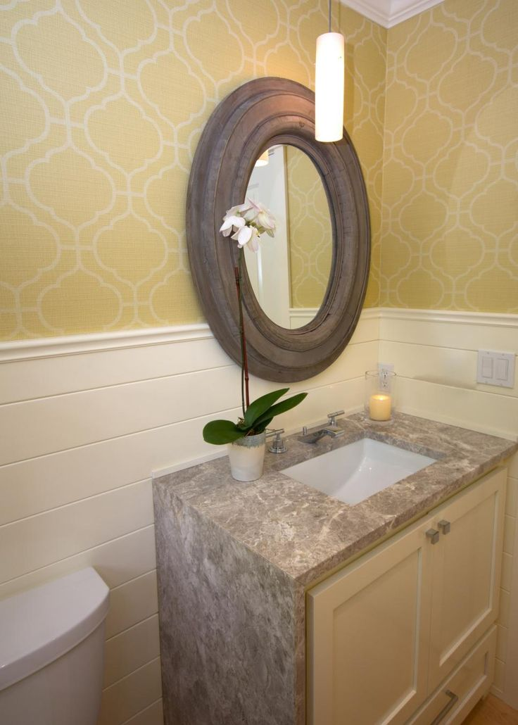Before Its Makeover, This Powder Room Was Dark, Cold And Lacked  Architectural Interest. Waterfall CountertopSmall Powder RoomsGranite ...