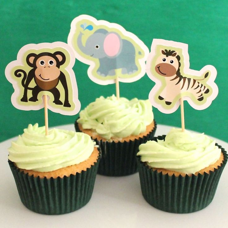 Jungle Animal Cupcake Toppers - 6 Pack