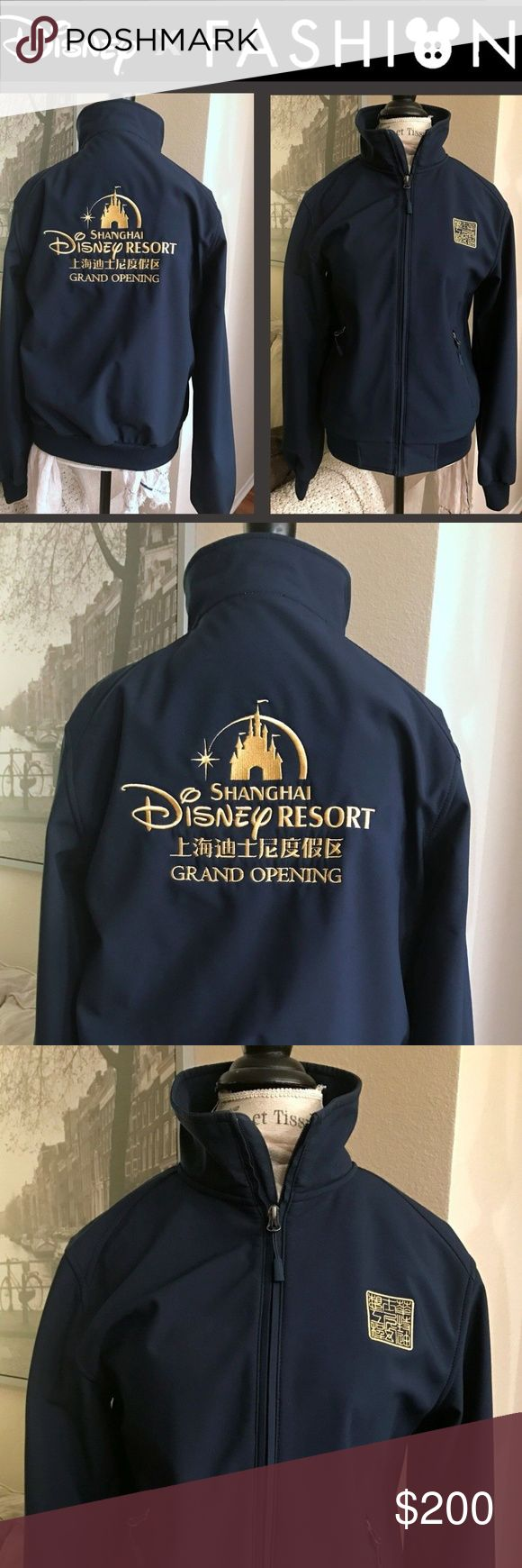 """Exclusive Shanghai Disney Grand Opening Jacket LIMITED EDITION *SHANGHAI DISNEY RESORT GRAND OPENING JACKET*  Disney Imagineering Exclusive Merchandise - Shanghai Disneyland Grand Opening Collector's Item  Size: Uni-Sex Adult Small  Condition: New without tags  Color: Navy Blue with Gold detail  Manufacturer: Port Authority  Materials: Warm fleece inside and 100% Polyester outside  Measurements:  Length (from shoulder to bottom) approx 25"""" From arm-pit to arm-pit approx 19.5"""" Sleeve length…"""