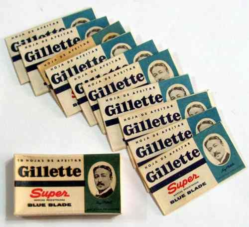 Antigua Caja Gillette Con 10 Hojas De Afeitar Nuevas