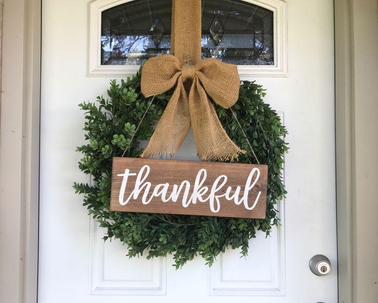Fall wreath, fall decor, thankful sign, fall wood sign, thankful wood sign, thankful wooden sign, thankful wreath sign, thankful wreath, farmhouse fall, farmhouse fall decor, farmhouse wreath, boxwood wreath, fall boxwood wreath