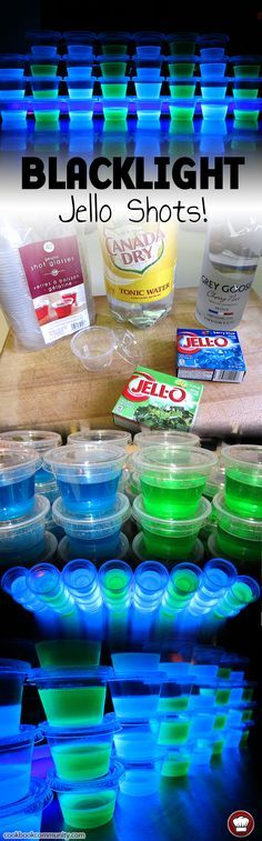 BLACKLIGHT JELLO SHOTS - Bet you never saw jello shots like these. These blacklight glowing cups of wonder are fun to look at. They're a little bitter because of the quinine in the tonic water, but that's what makes them glow! You could easily swap Gin for the the Vodka, and have something close to a fruity Gin & Tonic. You must have a blacklight for these to glow! It's pretty awesome looking though if you do.