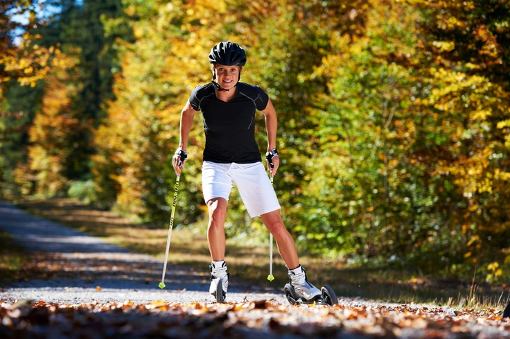 Evi Sachenbacher, Olympic champion, on Powerslide nordic skates
