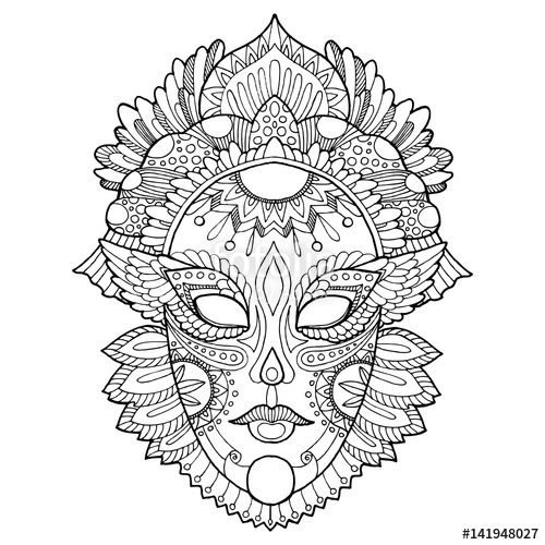 Carnival mask coloring page for adults Fotolia 141948027
