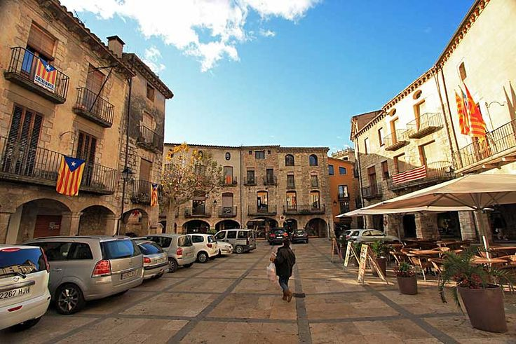 Historic Buildings on Main Square in Medieval Village of Besalu, Spain