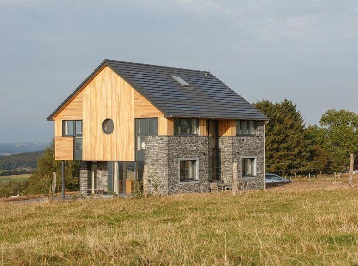 Maison passive en bois et pierre Mur de pierre Pinterest
