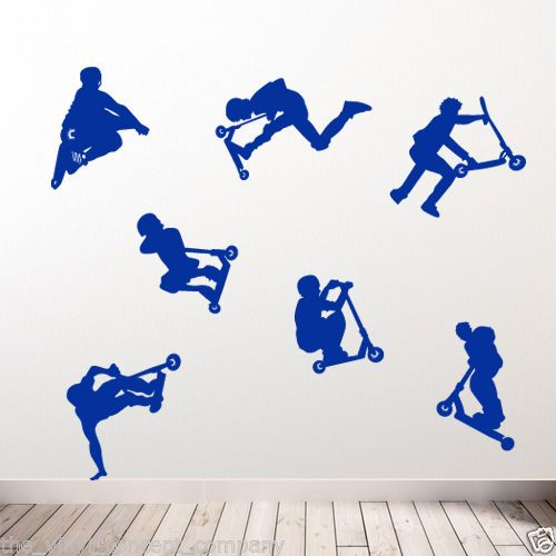 details about stunt scooter new diy deco decal vinyl stickers decorative kids sports wall a49