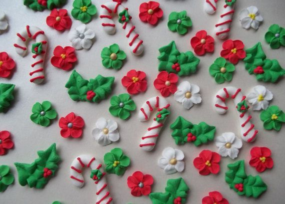I like to keep royal icing decorations on hand for quick decorating or final touches. Here are some cute Christmas ones!