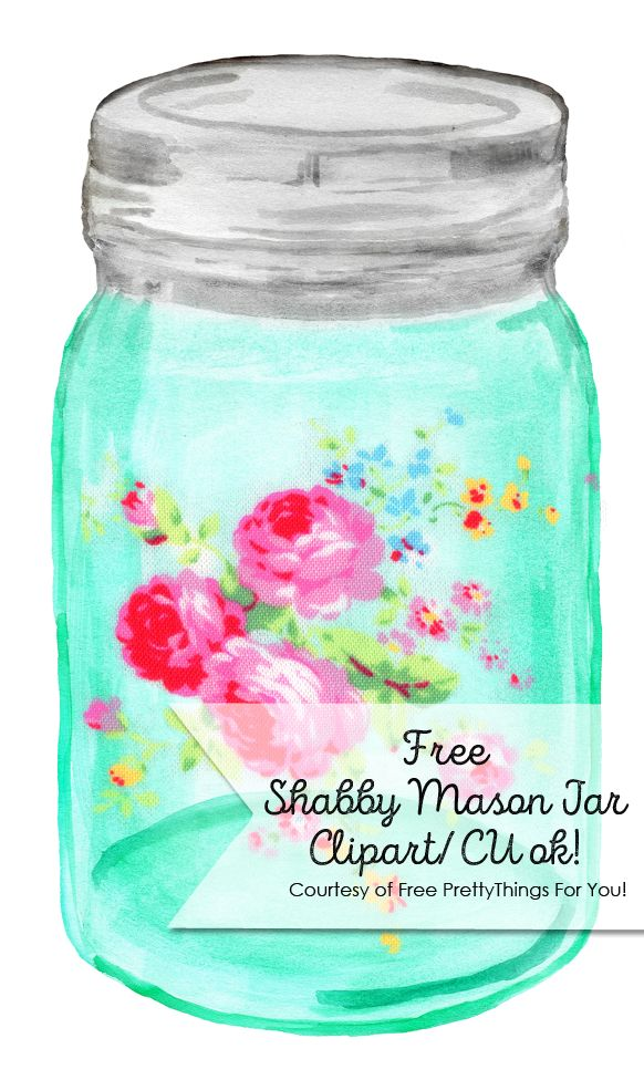 "Shabby Chic Mason Ball Jar: I know I know.. I just posted a free mason ball jar image.. but then I got to thinking and said to myself .. ""What if add a rose image on it to make it look like a vintage decal"".. So I dabbled a little  here and there and as …"