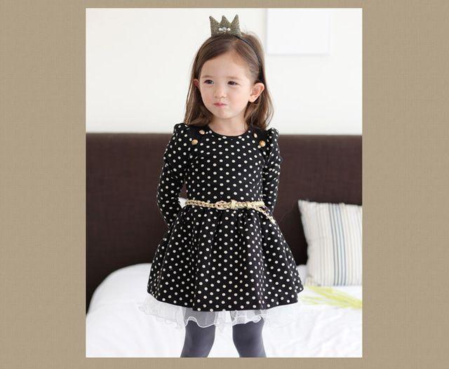 Весна девочка платье милый узор в горошек платья длинный рукав черный / розовый кружево принцесса Dot платье пояс 1 шт. кнб