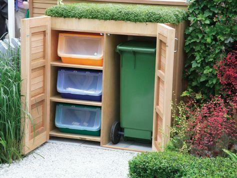 Mülltonnenbox mit Regal und grünem Dach