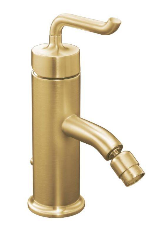 Kohler K-14434-4 Purist Single-Control Bidet Faucet with Smile Design Handle Vibrant Moderne Brushed Gold Faucet Bidet Horizontal Spray