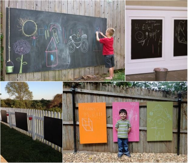 outdoor chalkboard recipe:  1 cup flat latex paint + 2 tablespoons of unsanded tile grout.