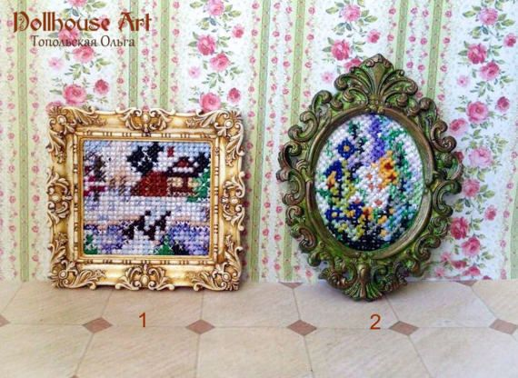 Painting by hand embroidery in an antique gold от OlgaDollhouseArt