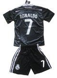 Real Madrid Ronaldo Kids 2014-2015 Soccer Black Dragon Jersey Set (Youths Age 11-13)