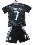 Real Madrid Ronaldo Kids 2014-2015 Soccer Black Dragon Jersey Set (Youths Age 11-13)
