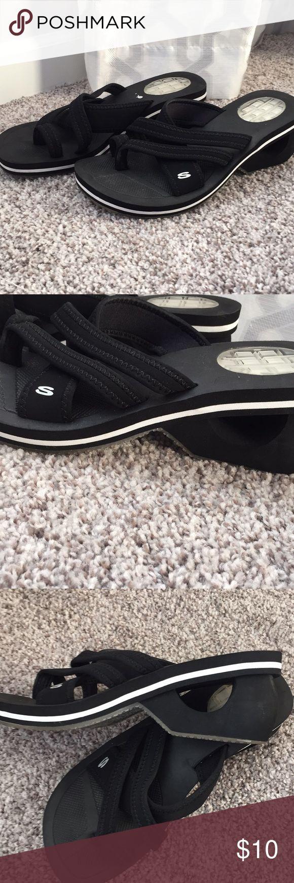 Skechers Black Wedge Sandals Size 7 Skechers Wedge Sandals.  Great condition!  Size 7 Skechers Shoes Sandals