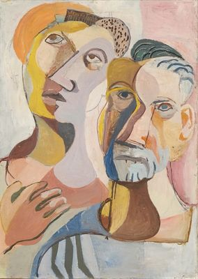 """""""To apostler"""" (utkast til utsmykning av Oslo krematorium, 30-tallet)"""