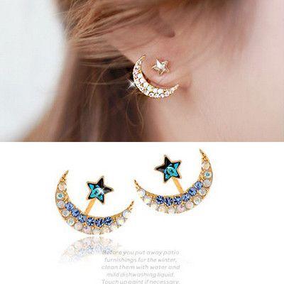 Rhinestone star and moon pentacle pendant stud earrings