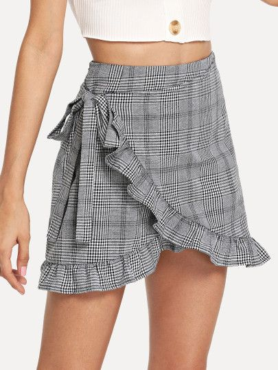 57dafe729d Shop Frill Trim Knot Side Plaid Wrap Skirt online. SheIn offers Frill Trim  Knot Side Plaid Wrap Skirt & more to fit your fashionable needs.