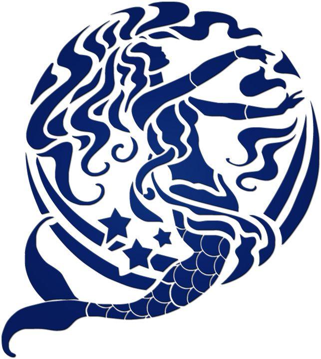 Mermaid Silhouette | Other :: Blue Silhouettes :: Blue Mermaid - Blue Water Pool Mosaics
