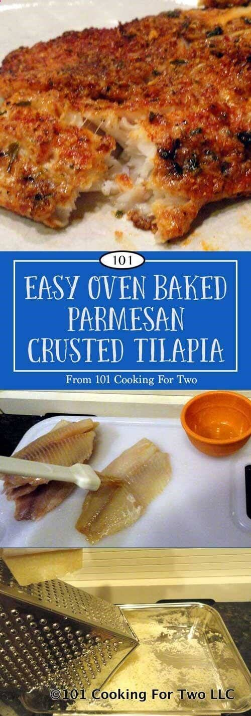 This easy oven baked Parmesan crusted tilapia is just wonderful with a crispy flavorful Parmesan crust from only a few everyday ingredients. via 101 Cooking for Two