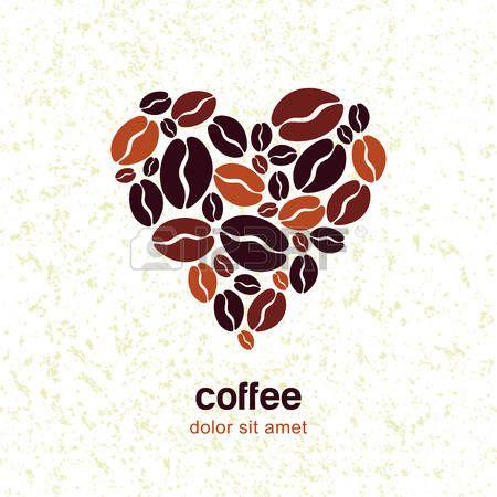 Chicchi di caff� in forma di cuore su sfondo grunge. Vector logo modello di progettazione. Concetto per bar, ristorante, menu, negozio. photo