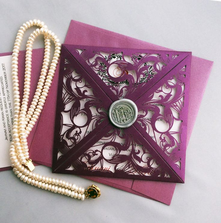 purple white silver wedding invitations%0A V    Plum elegant lace laser cutting pocket with silver wax seal purple  silver wedding invitation free