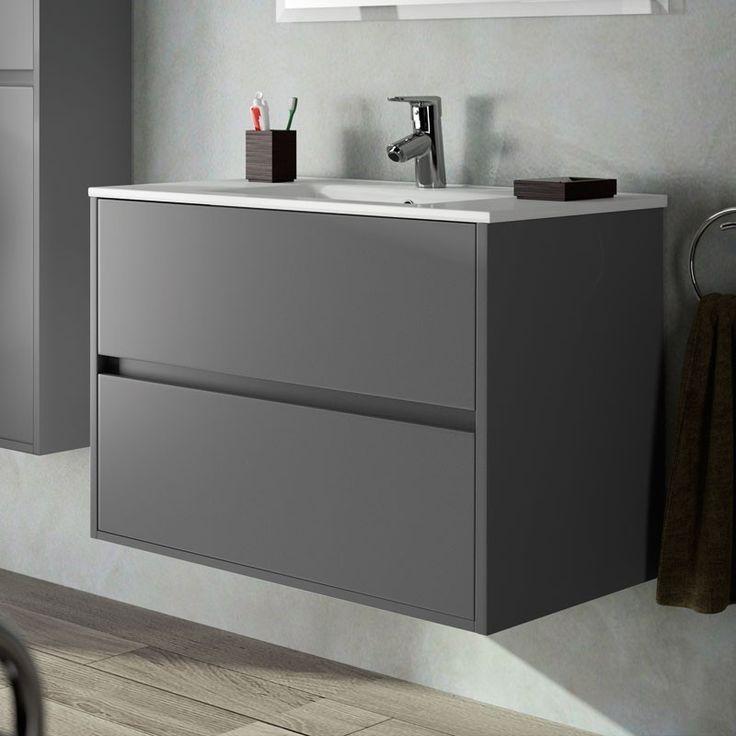 Aliso meuble salle de bain 100 cm 3 tiroirs plan vasque for Plan vasque salle de bain 100 cm