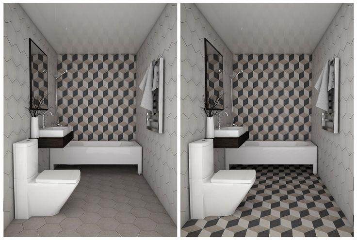 Mėgstantiems šešiakampius! Traffic kolekcija modernioje vonioje. #apdailosnamai #bathroom #modern #hexa #design #3d #tiles #monochromatic