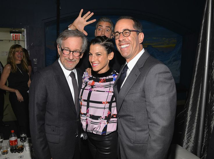 """Steven Spielberg, George Clooney, and Jerry Seinfeld -- Because there just weren't enough A-listers in the picture! """"Gravity"""" star and noted prankster George Clooney photobombed Steven Spielberg, Jerry Seinfeld, and Seinfeld's wife Jessica, as they posed for a pic at the USC Shoah Foundation Institute's 2013 Ambassadors for Humanity Gala at NYC's Museum of Natural History on Thursday night. The stars were having fun, but they were there to support a serious cause. Spielberg i"""