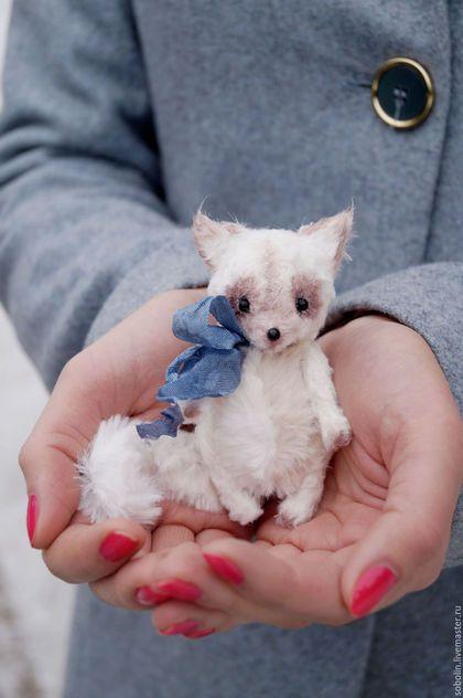 """Cute friends""  beige cat - Беж. Handmade. Комбинированный"