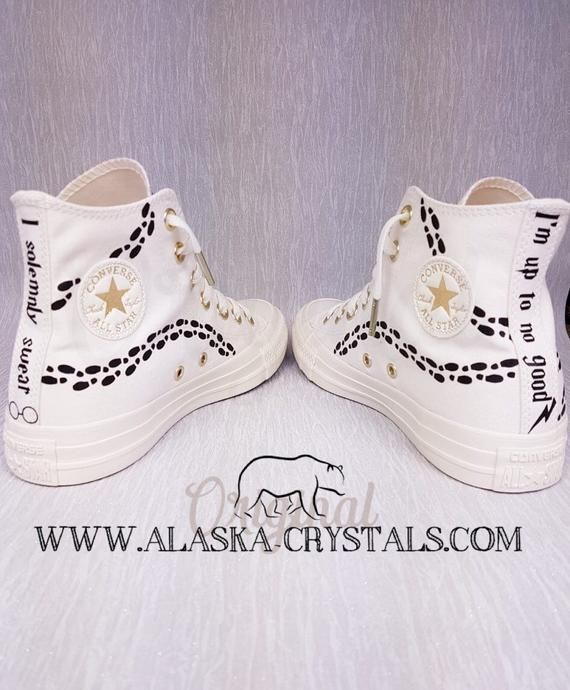 ea461f033b4f Uk 4 Us 6 Harry Potter Style Custom Wedding Converse With Swarovski Crystals