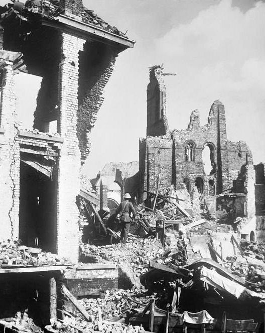 WWI, 3 Sept 1917, Battle of Passchendaele; Some of the ruins of Ypres in the sunlight. Cropped. © IWM (E(AUS) 706)