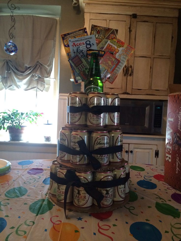 Beer can cake with lottery tickets