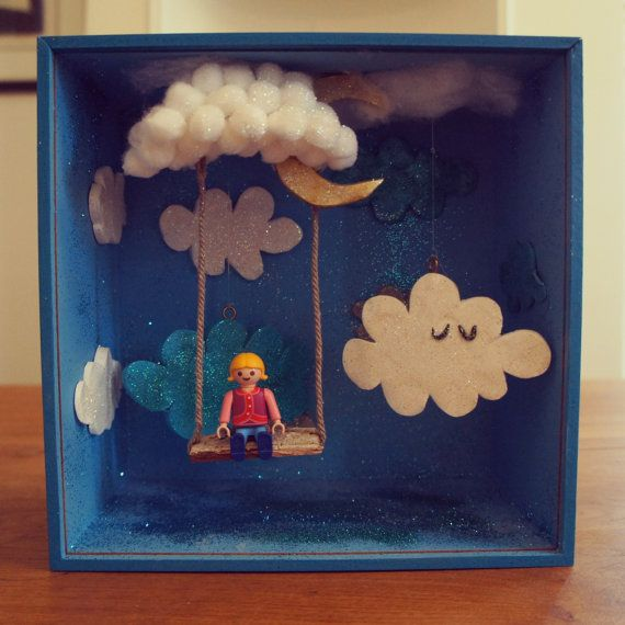 Diorama box the cloud swing with little girl