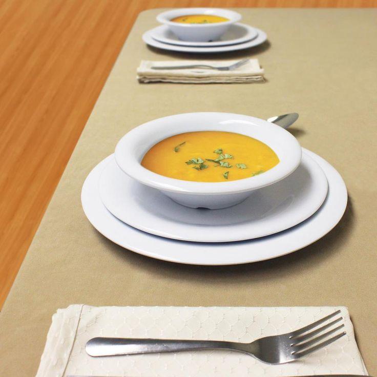 Wide Rim 12-Piece White Dinnerware Set