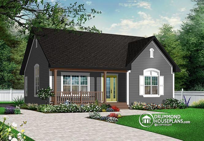W3121 2 bedroom ranch bungalow affordable cathedral for Affordable bungalow house plans